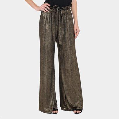 Calça Pantacourt Gup's Jeans Plissada Cintura Alta Feminina