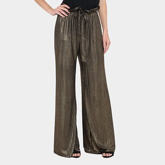 8ac3bf3ca Calça Pantacourt Gup's Jeans Plissada Cintura Alta Feminina