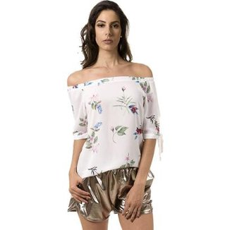 Short Bloom Bomber Metalizado Feminino