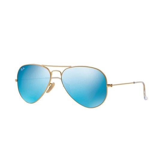 5c49e7907 Óculos de Sol Ray-Ban Aviator Lentes Espelhadas - Dourado   Netshoes