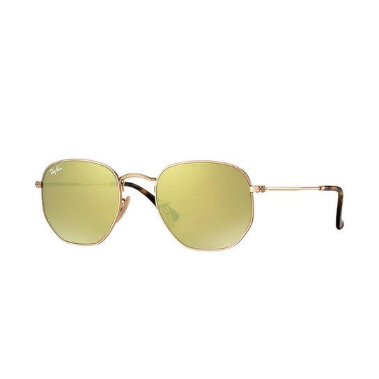 Óculos de Sol Ray-Ban Hexagonal - Dourado - Compre Agora  32ddec1469737