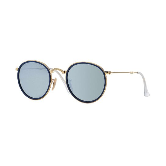 Óculos de Sol Ray-Ban Round Dobrável - Dourado - Compre Agora   Netshoes b97a61ef33