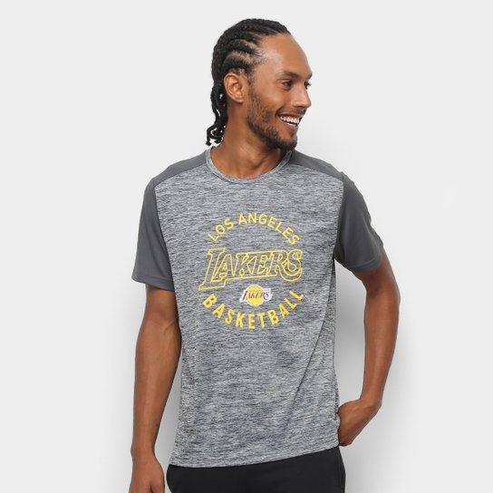 5216426f5 Camiseta NBA Los Angeles Lakers 17 Fio Tinto Mesh Masculina - Preto+Cinza