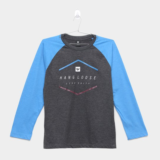 Camiseta Infantil Hang Loose Live Salty Manga Longa Masculina - Preto+Azul 954454b5f7