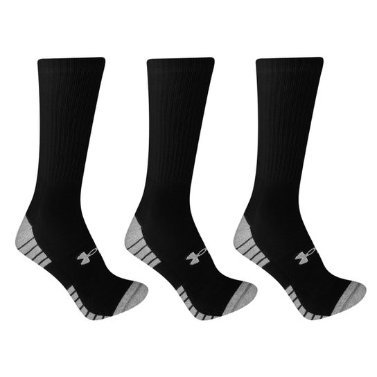 9afdac698ad Meia Cano Alto Under Armour Heatgear Tech Crew c  3 pares - Preto e ...