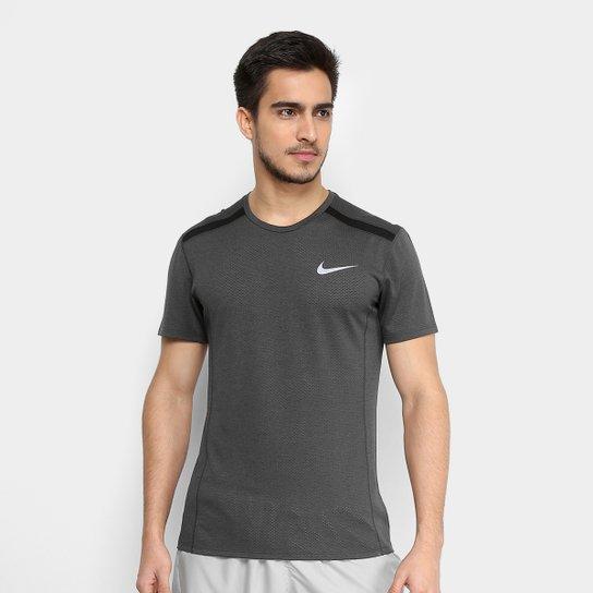 af8cb45e01 Camiseta Nike Dry Cool Miler SS Masculina - Cinza e Preto - Compre ...
