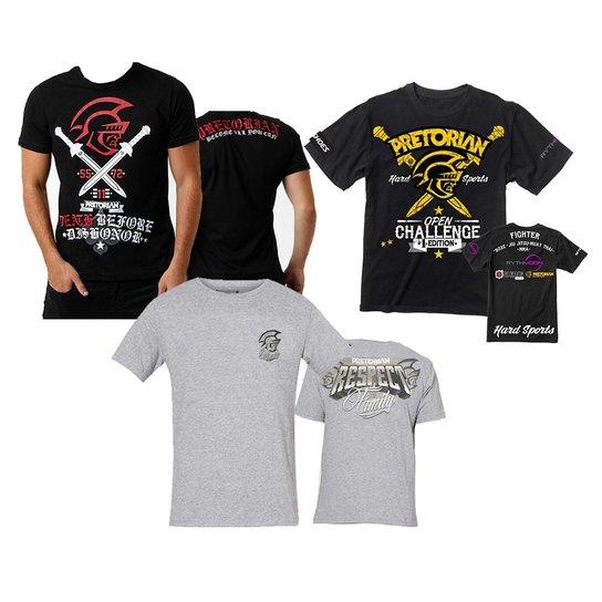 9e75aa4b58 Kit 3 Camisetas Pretorian Preta Cinza G - Compre Agora