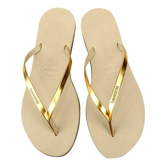 834477f31a Sandálias Havaianas You Metallic - Dourado e Bege - Compre Agora ...