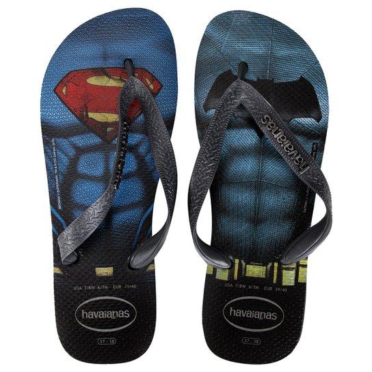 6a9a39b009faa Sandália Havaianas Batman V Superman - Preto+Azul