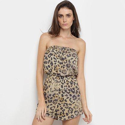 Macacão Calvin Klein Curto Animal Print Onça Feminino