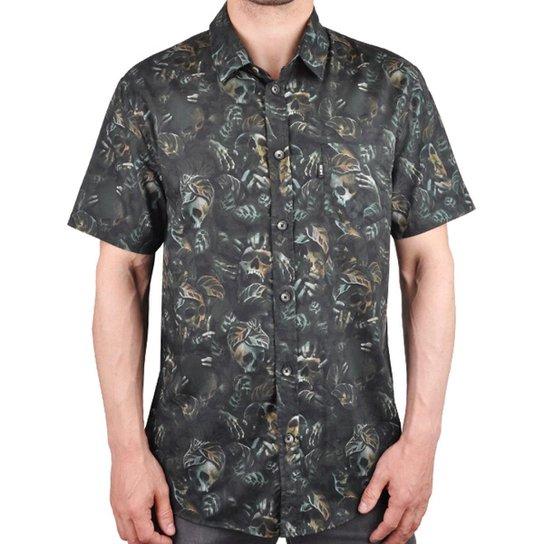 Camisa MCD Manga Curta Estampada Masculina - Preto e Cinza - Compre ... f842031700d