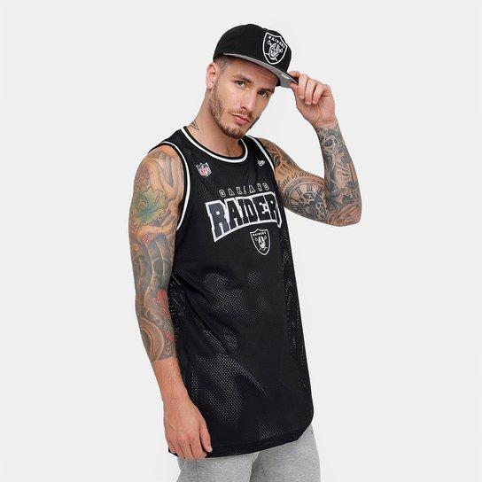 Camiseta Regata New Era NFL Oakland Raiders Sports Vein Masculina -  Preto+Cinza 01bdb8dd82777
