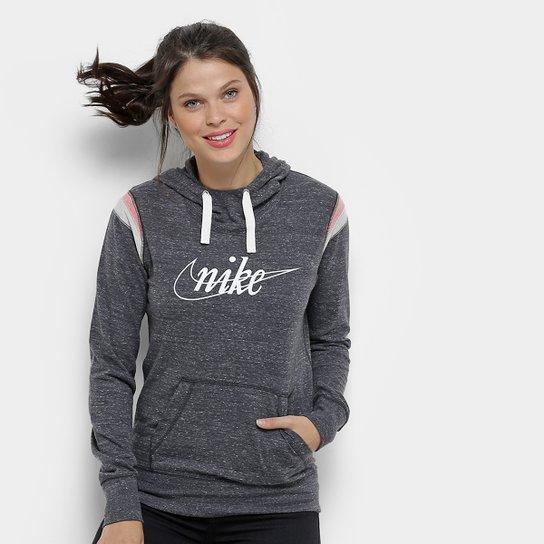 Moletom Nike W Nsw Gym Vintage Hoodie Po Hbr Feminino - Cinza+Branco 3de44b04135b6
