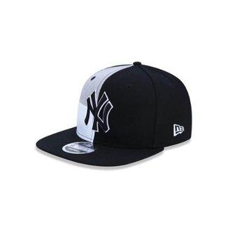 a86de80a785a4 Bone 950 Original Fit New York Yankees MLB Aba Reta Snapback Preto Cinza New  Era