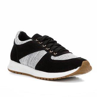 836b9c148 Tênis Couro Shoestock Jogging Recortes Feminino