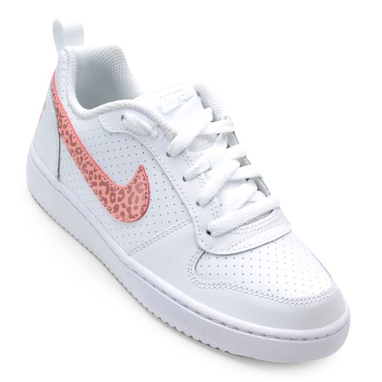 f28fb426d3 Tênis Infantil Nike Court Borough Low Feminino - Branco e Pink ...
