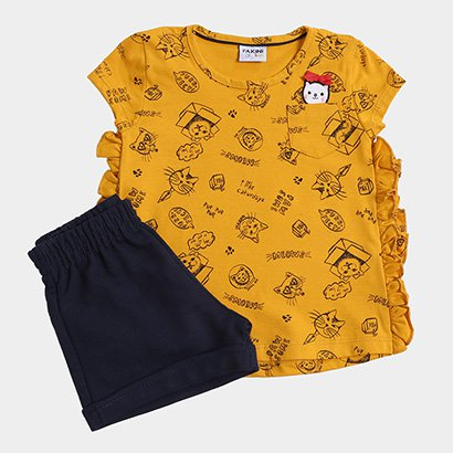 Conjunto Blusa + Short Infantil Fakini Estampado