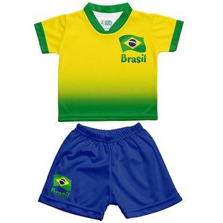 Conjunto Infantil Sublimado Torcida Baby Brasil Masculino 83fe4b7acbf64