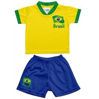 6ee9812581 Conjunto Infantil Torcida Baby Brasil Unissex