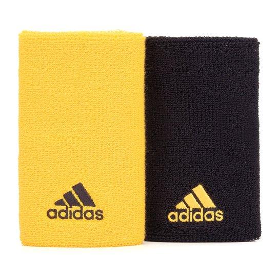 Munhequeira Longa Adidas WB Preta e Amarela - Com 02 Unidades - Amarelo+ Preto aa6a6ca1fa1