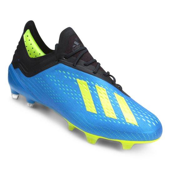6190151761 Chuteira Campo Adidas X 18 1 FG - Azul+amarelo