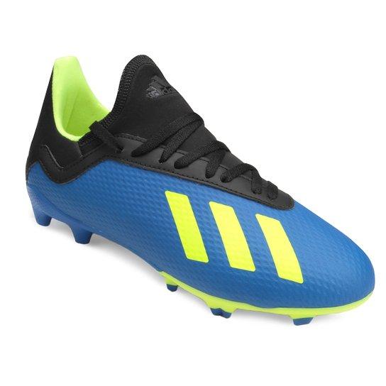 Chuteira Campo Infantil Adidas X 18 3 FG - Azul e amarelo - Compre ... 0e8cc80371b6b