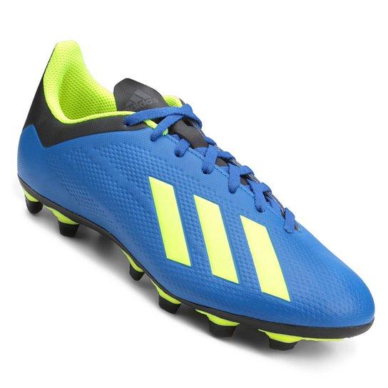 Chuteira Campo Adidas X 18 4 FG - Azul e amarelo - Compre Agora ... 71cdd52d8f9cf