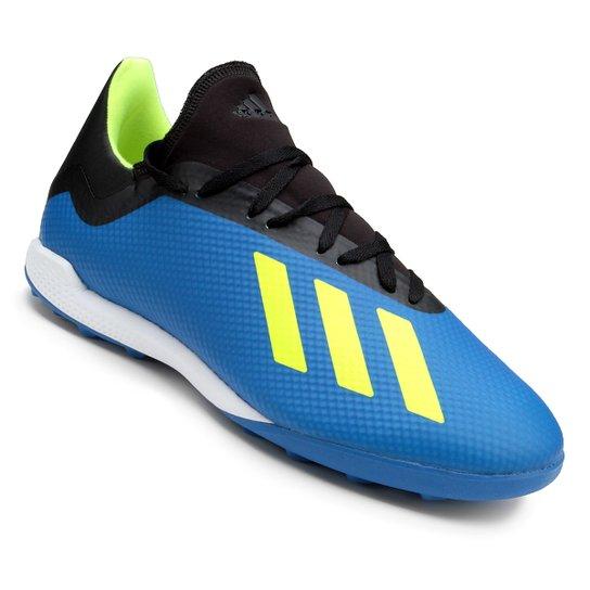 Chuteira Society Adidas X Tango 18 3 TF - Azul e Preto - Compre ... 168bd1f058ffc
