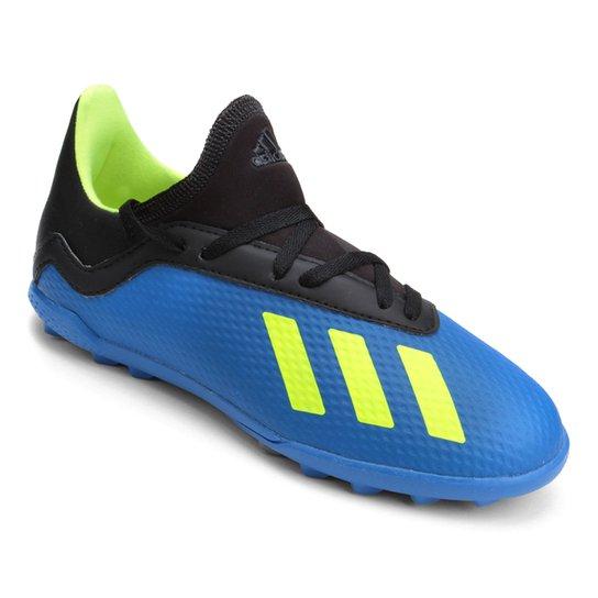 Chuteira Society Infantil Adidas X Tango 18 3 TF - Azul e amarelo ... 54de3e92af491
