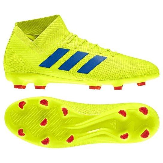 127c266d42448 Chuteira Campo Adidas Nemeziz 18 3 FG - Amarelo e Azul - Compre ...