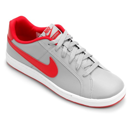 Tênis Couro Nike Court Royale Masculino - Cinza e Vermelho - Compre ... 29d9a974df0d8