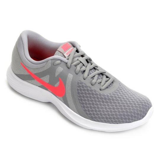 386ce7fd3b85b Tênis Nike Wmns Revolution 4 Feminino - Cinza e Vermelho - Compre ...