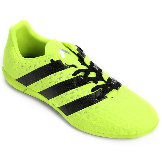 2fc76748abd5f Chuteira Futsal Adidas Ace 16.3 IN - Verde Limão e Preto - Compre ...