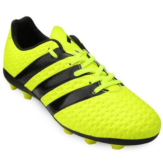 4c20c7b1ae Chuteira Adidas Ace 16.4 FXG Campo Juvenil - Verde Limão+Preto