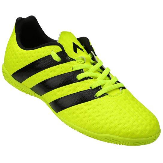 ef7c084be63a3 Chuteira Futsal Juvenil Adidas Ace 16.4 IN - Verde Limão e Preto ...