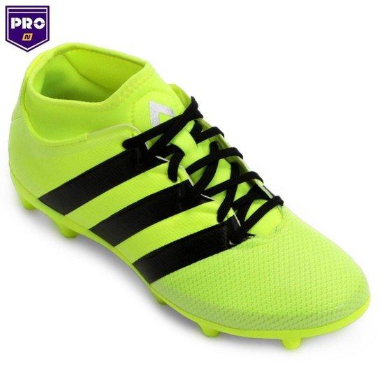 6bdc8adda0714 Chuteira Adidas Ace 16.3 Primemesh FG Campo - Verde Limão+Preto