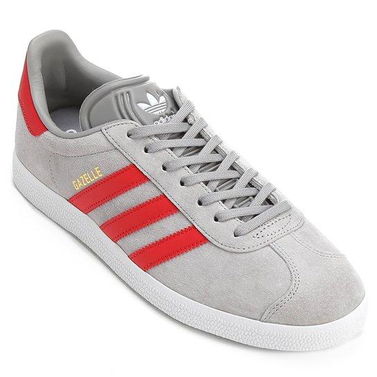 7b062c3749a Tênis Adidas Gazelle - Cinza+Vermelho