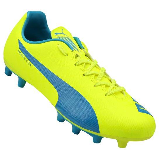7a4fc2cb3e Chuteira Puma Evospeed 5.4 FG Campo - Amarelo+Azul