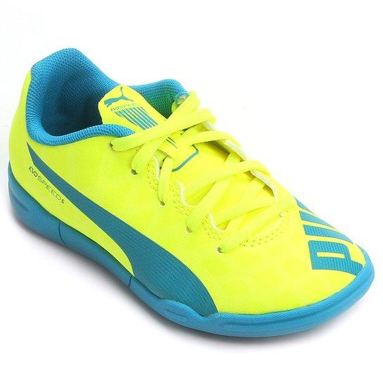 d4fa135d3d Chuteira Puma Evospeed 5.4 IT Futsal Juvenil - Amarelo+Azul ...