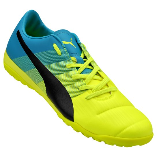 9303d878cd Chuteira Society Puma Evopower 3.3 TT Masculina - Amarelo+Azul