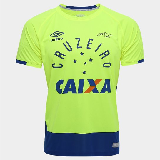 77b40b1e11c12 Camisa Cruzeiro Goleiro 2016 nº 1 - Fábio Torcedor Umbro Masculina - Verde  Limão+Azul
