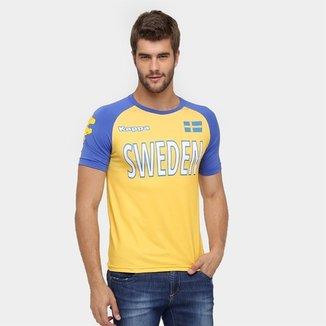 Camiseta Suécia Kappa Kombat Masculina 958aa10ffde76
