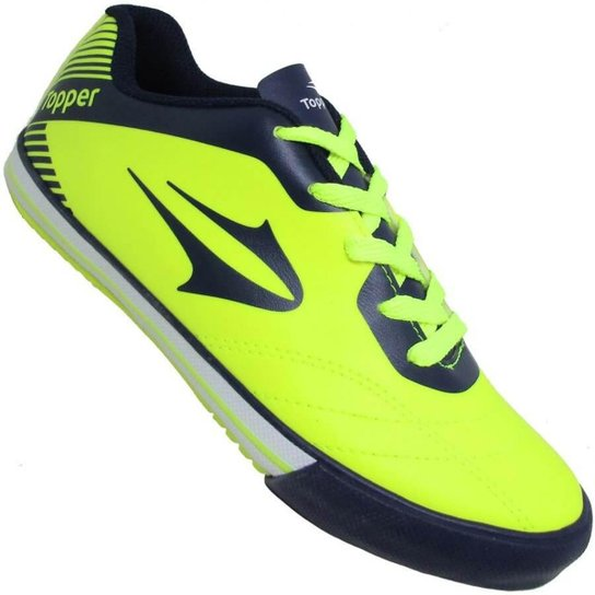 fc4f2d167bee8 Chuteira Infantil Topper Frontier VIII Futsal Indoor - Amarelo e ...