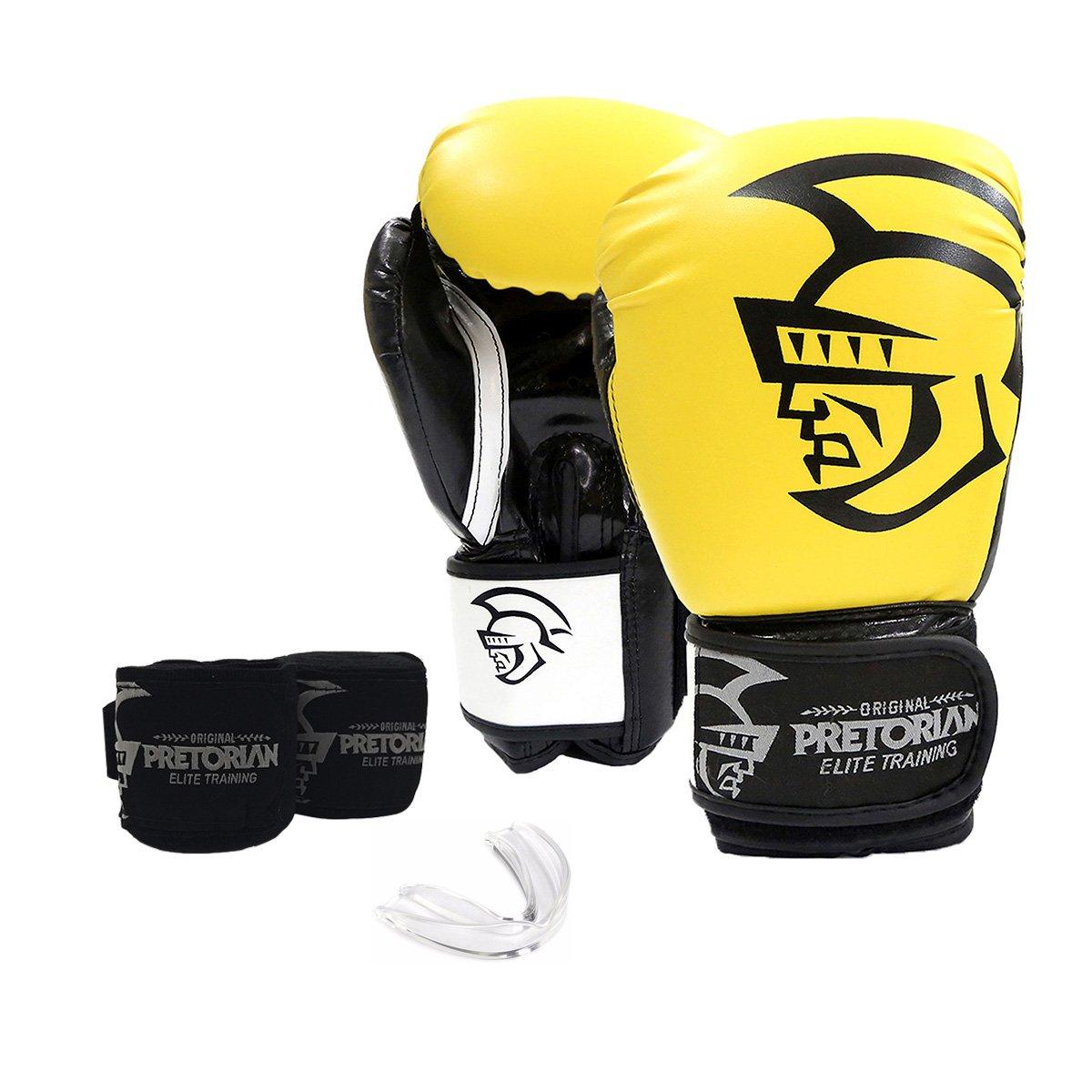 Kit Luva de Boxe/Muay Thai Pretorian Elite 16 Oz + Bandagem Elástica + Protetor Bucal