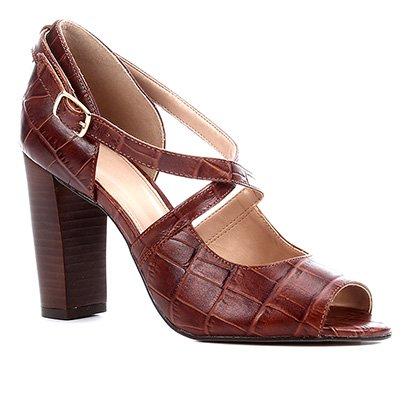 Sandália Couro Shoestock Croco Salto Bloco Alto Feminina