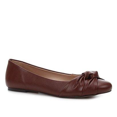 Sapatilha Couro Shoestock Bico Redondo Nó Feminina