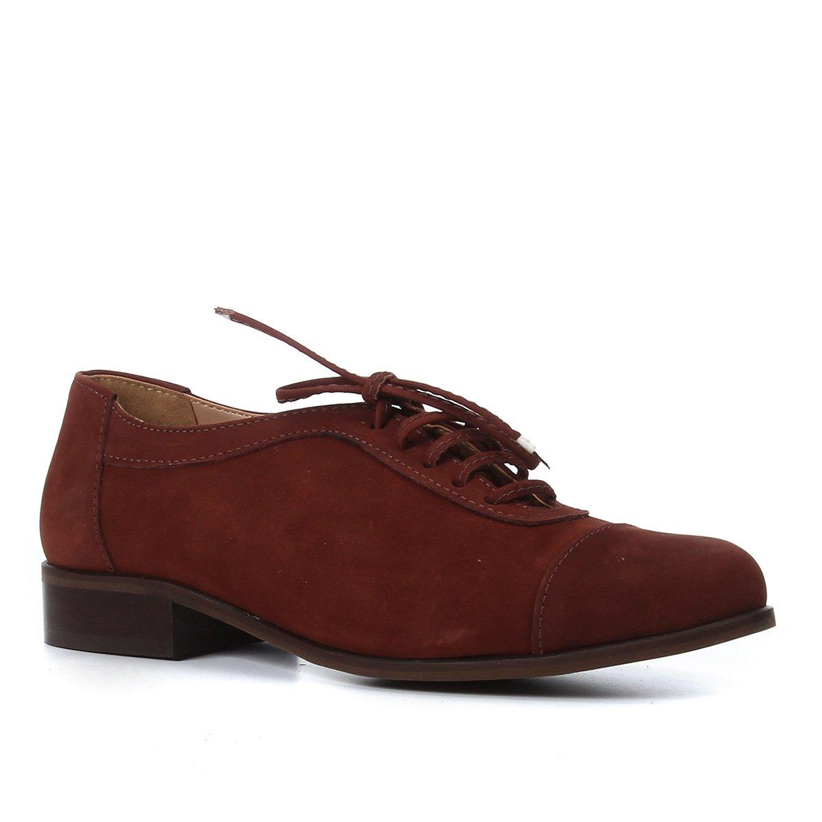 Oxfords Couro Shoestock Nobuck Amarração Feminino
