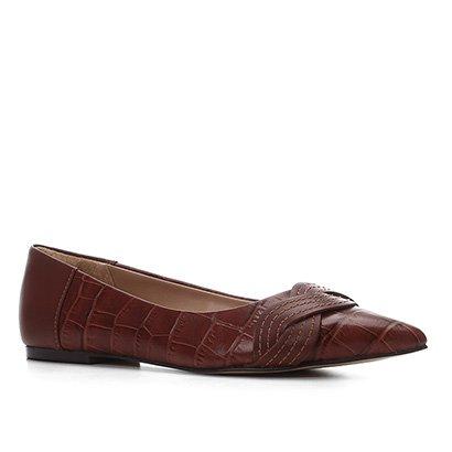 Sapatilha Couro Shoestock Croco Detalhe Trançado Feminina