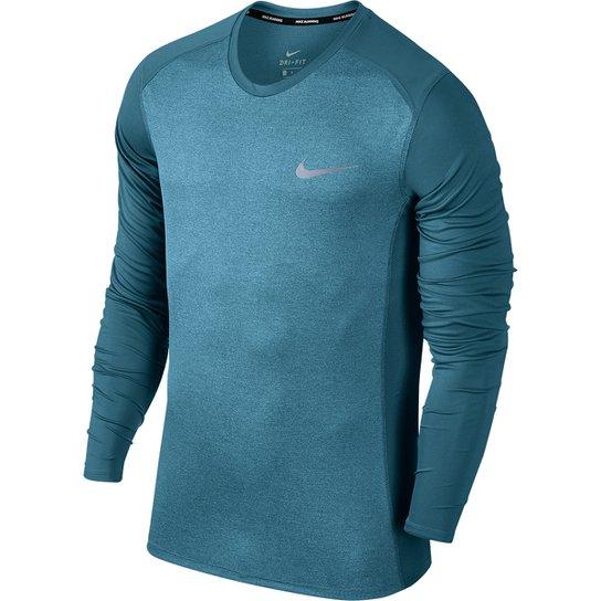 Camiseta Nike Dri-Fit Miler Manga Longa Masculina - Verde água ... 80114f56eaae6