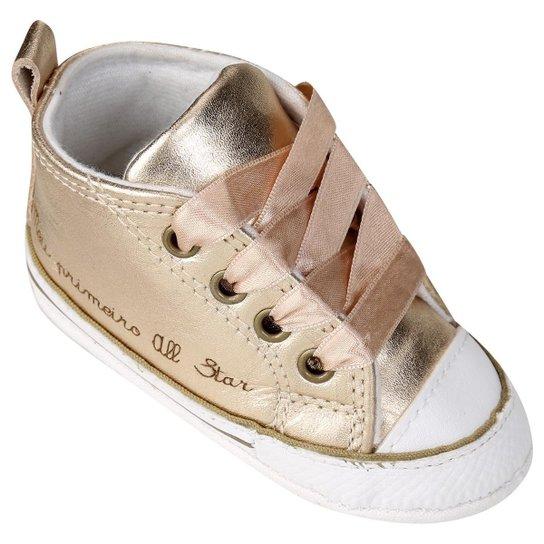 60d0fe212ec Tênis Infantil Converse Chuck Taylor All Star First Star Laces Feminino -  Dourado+Branco